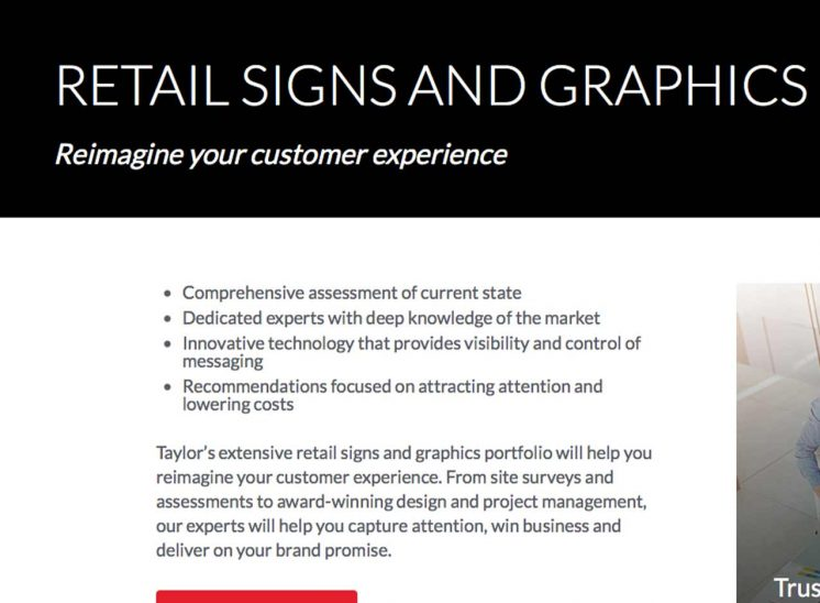 Taylor Corporation Website - Retail Signs and Graphics - Award Winning Online Copywriting Projects: Websites - Gene Downs