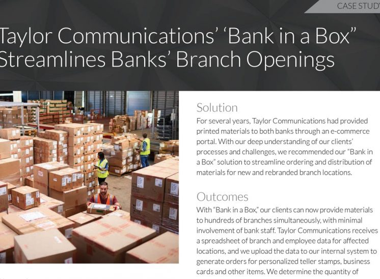 Taylor Corporation – Bank in a Box Case Study