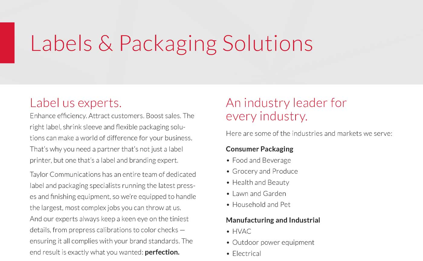 Labels and Packaging Solutions Brochure